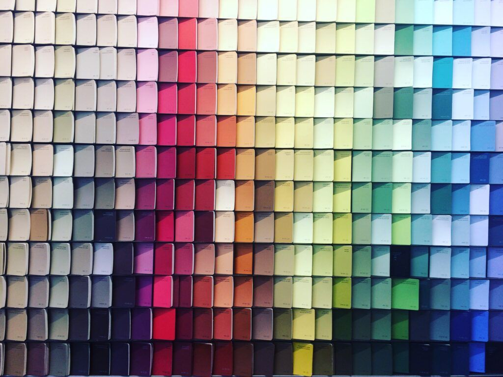 Colorful paint swatches at the paint store